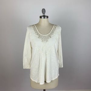 Lucky Brand Cream Embroidered Lace Top